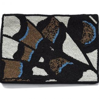 Butterfly Wing Beaded Clutch Ink + Alloy