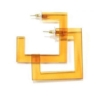 Lucite Square Hoop Earrings Ink + Alloy