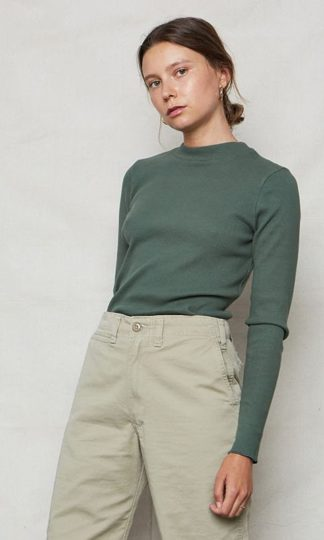 Organic Ribbed Mock Neck Top Back Beat Rags