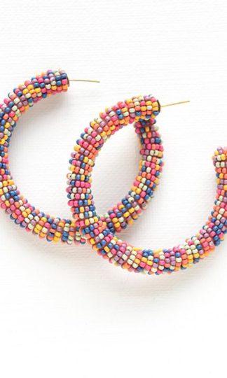 Seed Bead Hoop Earrings Ink + Alloy