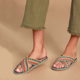 Salt + Umber Saraya Woven Slide Sandals
