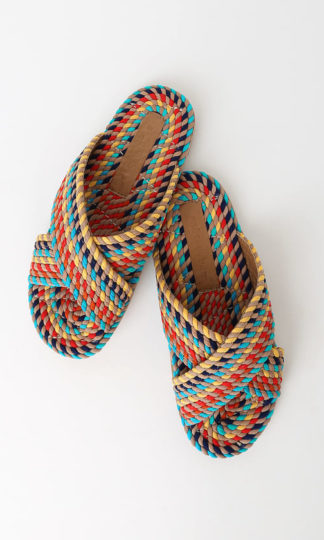 Salt + Umber Saraya Woven Slide Sandals