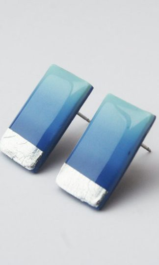 Clay N Wire Blue and Silver Ombre Rectangle Studs