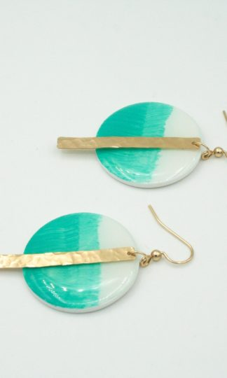 Clay N Wire Painted Aqua Circles with Gold Bars Earrings