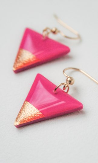 Clay N Wire Hot Pink Triangle Earrings