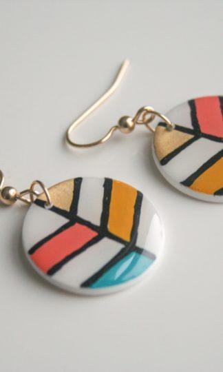 Clay N Wire Colorful Leaf Earrings