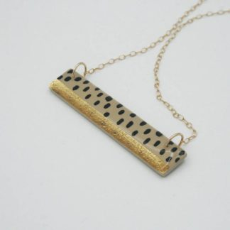 Clay N Wire Gold Flake Rectangle Necklace