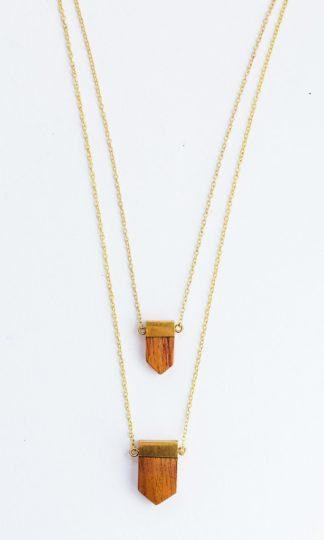 Mata Traders Wood Emblem Necklace