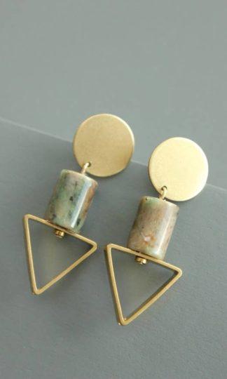 David Aubrey Brass Triangle Earrings