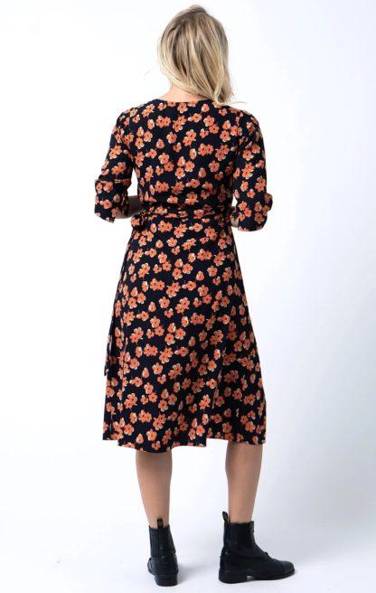 Wrap Dress in Orange Floral