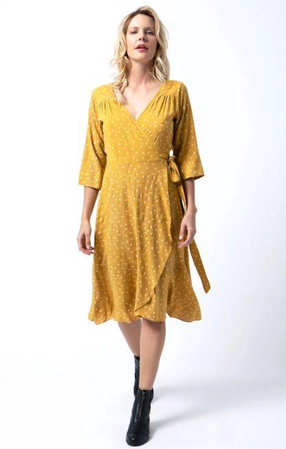 Cameo Wrap Dress in Gold Polka Dot