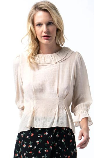 Cameo Ruffle Neck Top
