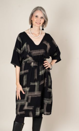 Sothea Black Crosshatch Dress tonle