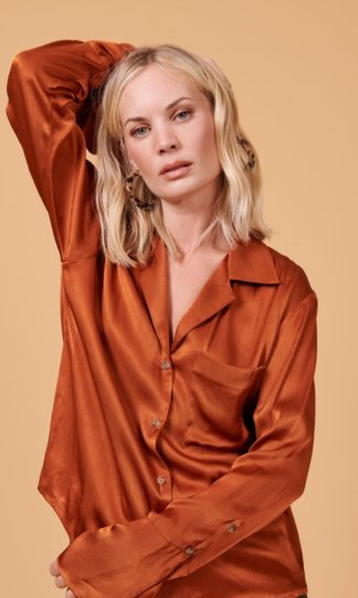Whimsy and Row Maya Button Front Shirt Rust
