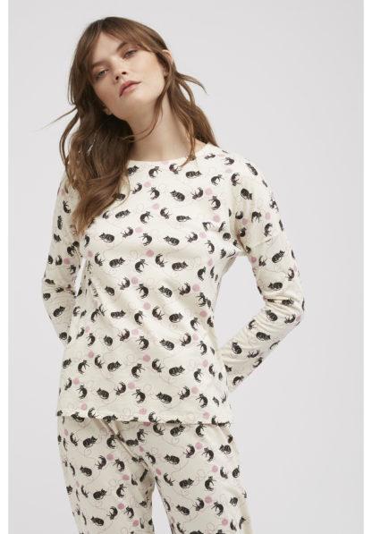 People Tree Cat Print Pyjama Long Sleeve Top