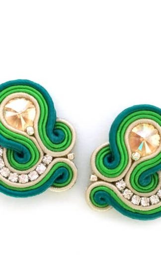 Sabo Design Embroidered in Greens Earrings