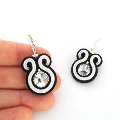 Sabo Design Soutache Black+ White Short Earrings