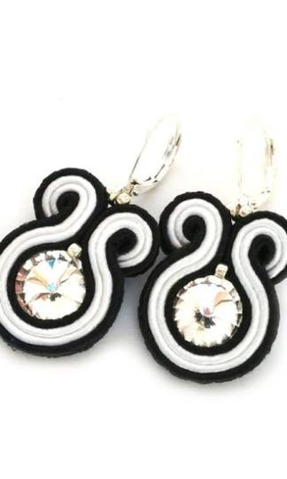 Sabo Design Soutache Black+ White Short Earrings
