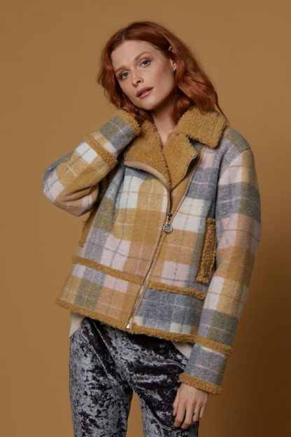 Plaid Shearling Moto Jacket Scandal Italy