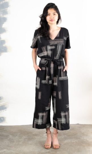Rachana Black Crosshatch Jumpsuit Tonle