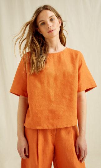 Arabella Linen Top Amber People Tree Fair Trade