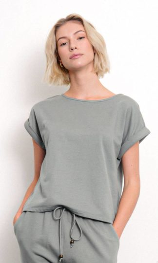 BRUSHED ORGANIC HEMP Loose Fit Top Fabina Olive