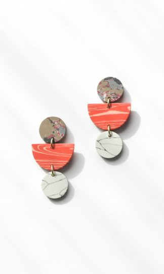 Geo Clay Earrings in Peach Rover and Kin Fair Trade