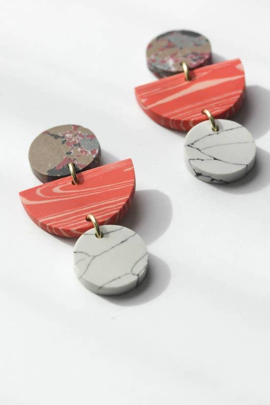 Geo Clay Earrings in Peach Rover and Kin Fair Trade