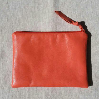 Handmade Small Leather Pouche Amara Felice Coral