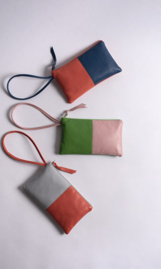 Color-blocked leather wrislets Amara Felice