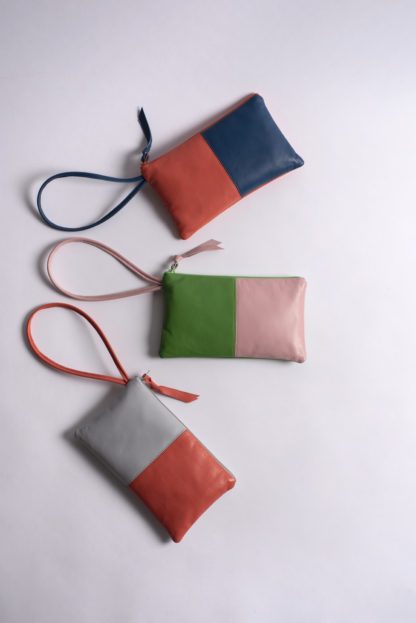 Color-blocked leather wrislets Amara Felice