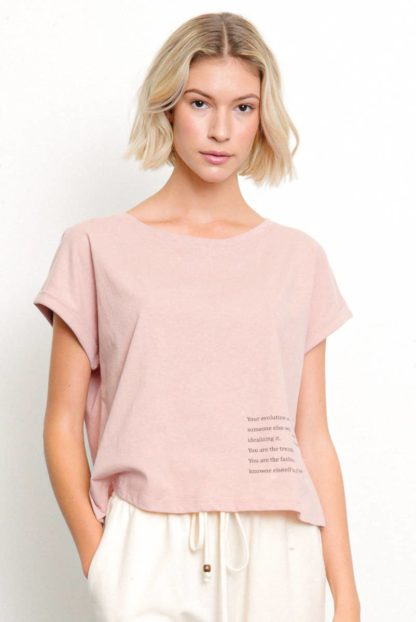 Recycled Cotton Graphic Top Mauve Fabina