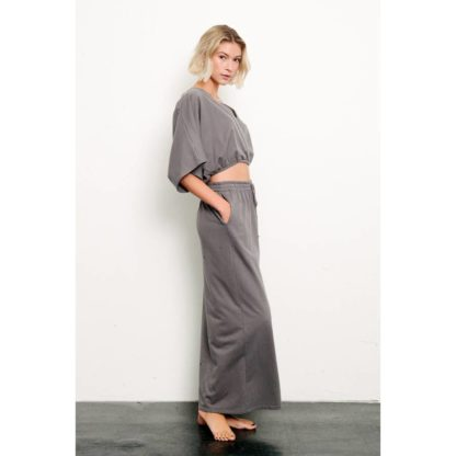 BRUSHED ORGANIC HEMP Side Slit Maxi Skirt Fabina