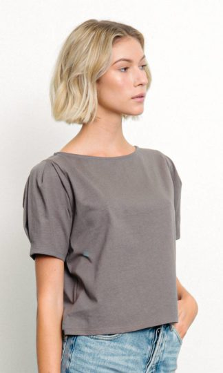 Heavy Cotton Puffed Sleeved Top Fabina Dark Grey