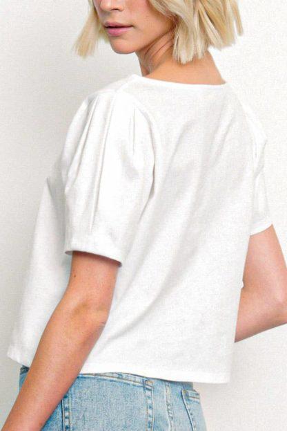 Heavy Cotton Puffed Sleeved Top Fabina White