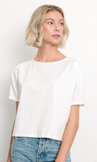 Heavy Cotton Puffed Sleeved Top Fabina White