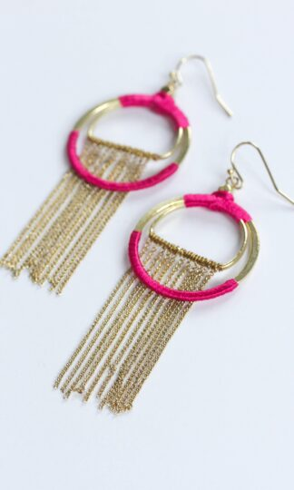 Silk Wrapped Fringe Earrings Rover & Kin