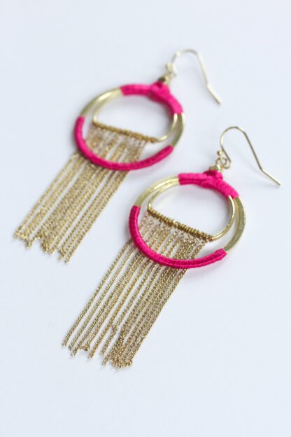 Silk Wrapped Fringe Earrings Rover & Kin