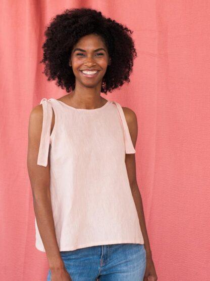 Two Way Tank Pink Linen Mata Traders Fair Trade