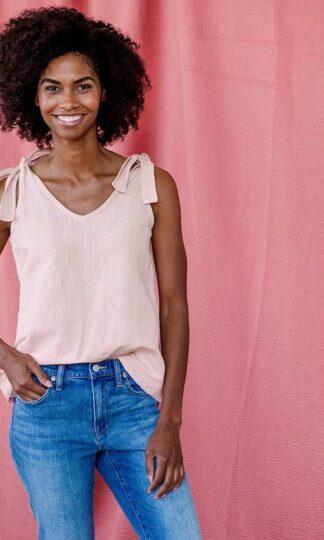 Two Way Tank Pink Linen Mata Traders Fair Trade.