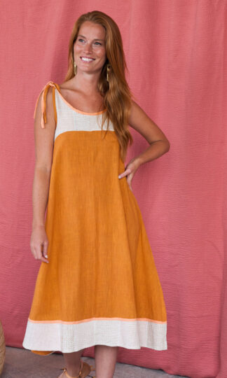 dress_stevieswing_ochre_Mata Traders_fair trade
