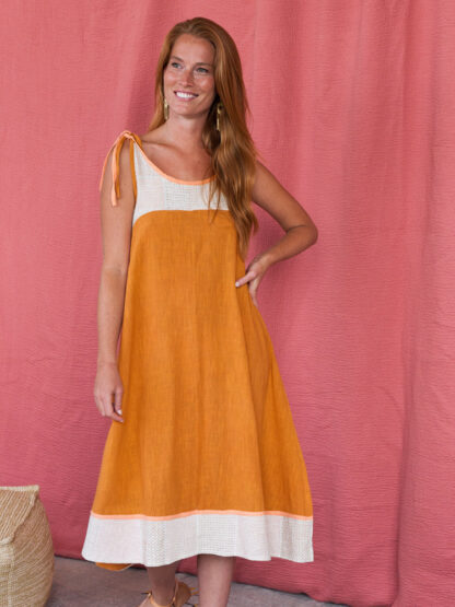 dress_stevieswing_ochre_Mata Traders_fair trade