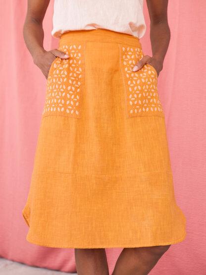 Laser Cut Skirt Mata Traders Fair Trade Ochre