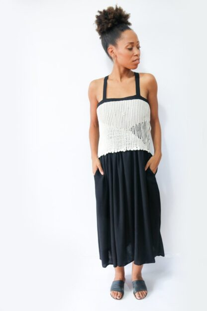 Alice Handwoven Grey and Black Dress Tonle
