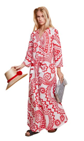 Ikat Red Long Tunic Guadalupe