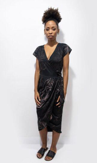 Lotus Dress with Cactus Print Tonle