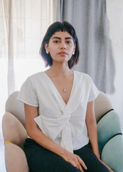 Saint Geraldine Alexa Kimono Dot Tie Top
