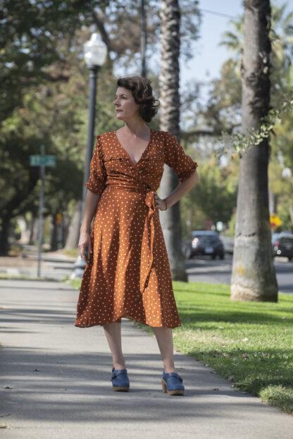 Cameo Ruffle Wrap Dress Rust Polka Dot.