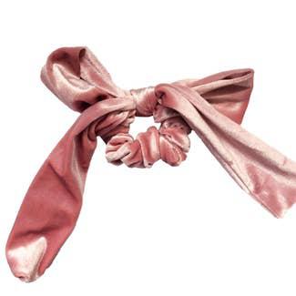 Velvet Pink Bow Tie Scrunchie