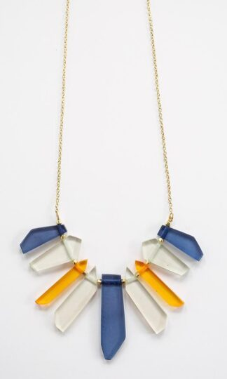 Stained Glass Blue Necklace Mata Traders